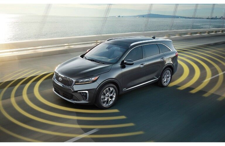 2019 Kia Sorento exterior shot with sensor technology visualized