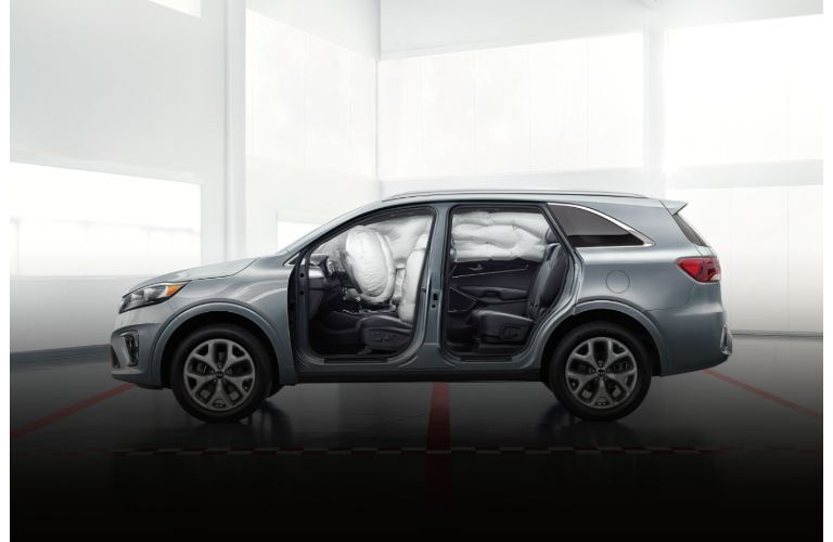 2020 Kia Sorento exterior side shot without doors and airbags deployed in safety test