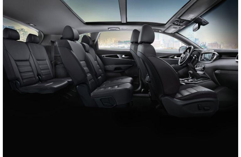 2020 Kia Sorento interior side shot of 3-row seating and upholstery material