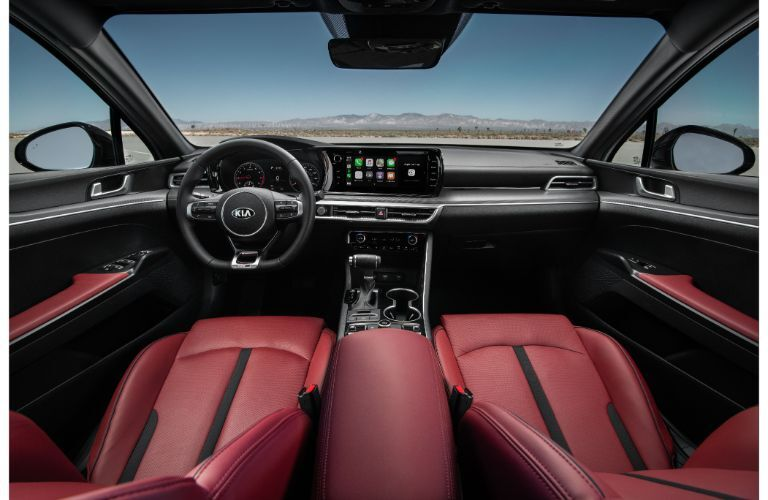 2021 Kia K5 red leatherette seating