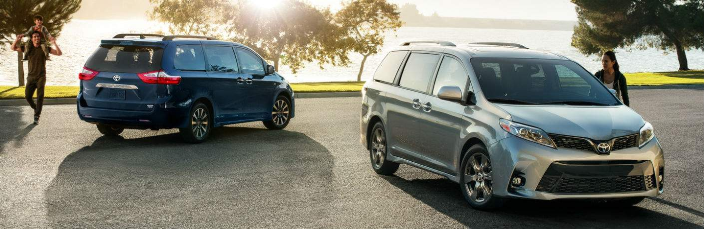 2018 Toyota Sienna Blue Exterior Rear Passenger Side Silver Exterior Front Passenger Side