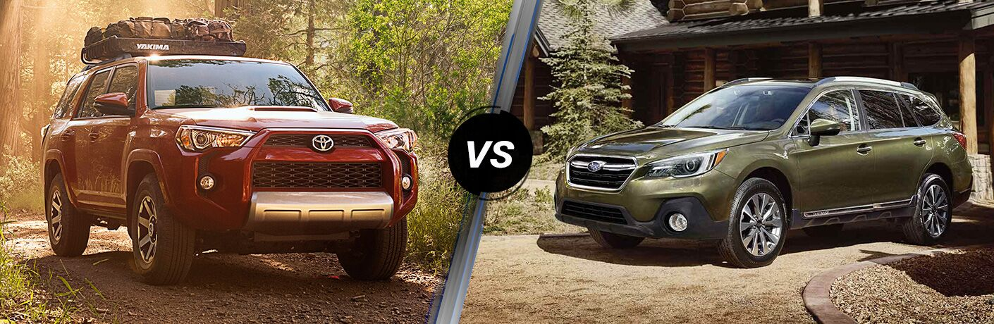 Red 2019 Toyota 4Runner on left side VS a Green 2019 Subaru Outback on the right side