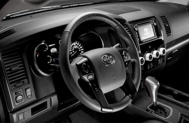 Black Steering Wheel inside the 2019 Toyota Sequoia