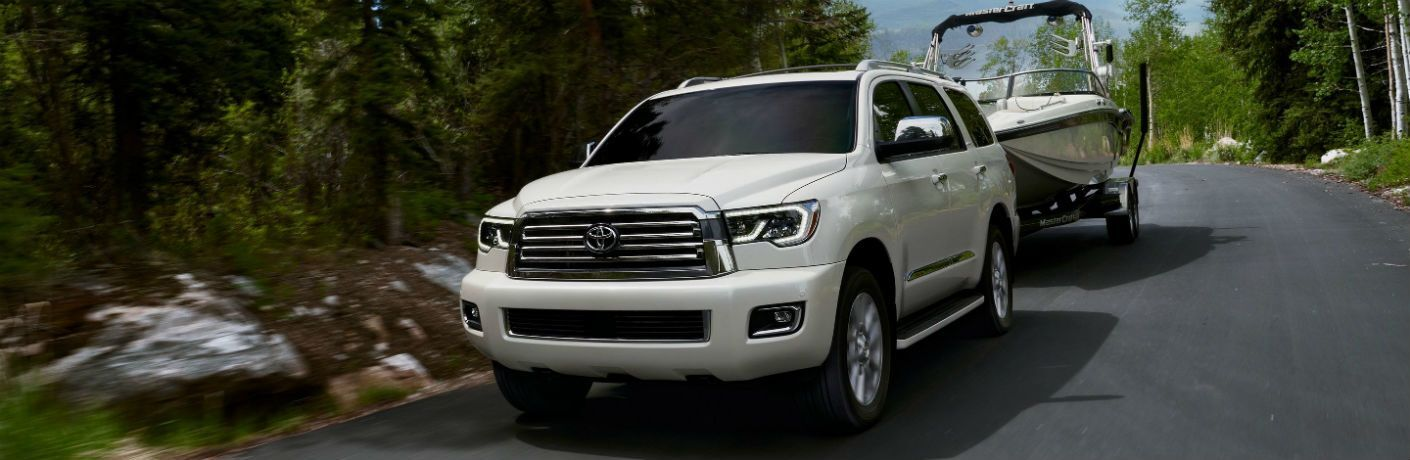 2020 Toyota Sequoia Exterior Driver Side Front Angle Towing Boat