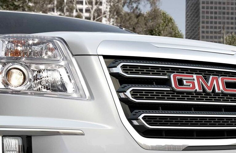 close-up of the 2017 GMC Terrain grille and headlight Winnipeg, MB