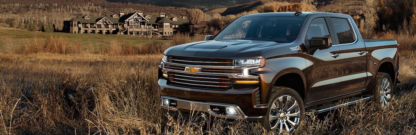 Black 2019 Chevrolet Silverado 1500 parked with mansion in background