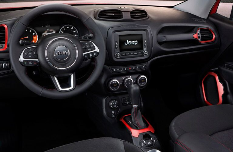Driver view of steering wheel in 2017 Jeep Renegade