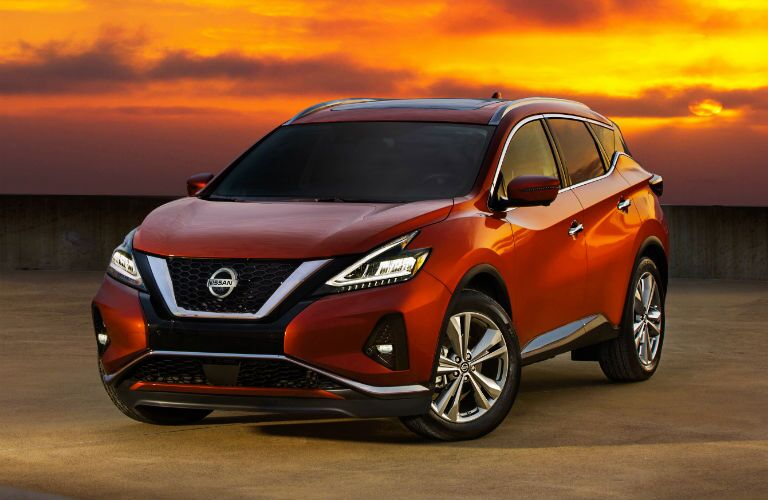A front quarter photo of the 2020 Nissan Murano parked in the desert.
