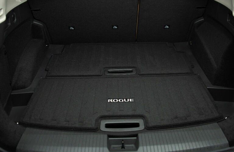 A photo of the cargo area in the back of the 2021 Nissan Rogue.