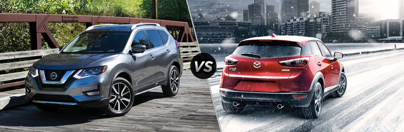 A side-by-side comparison of the 2018 Nissan Rogue vs. 2018 Mazda CX-3.