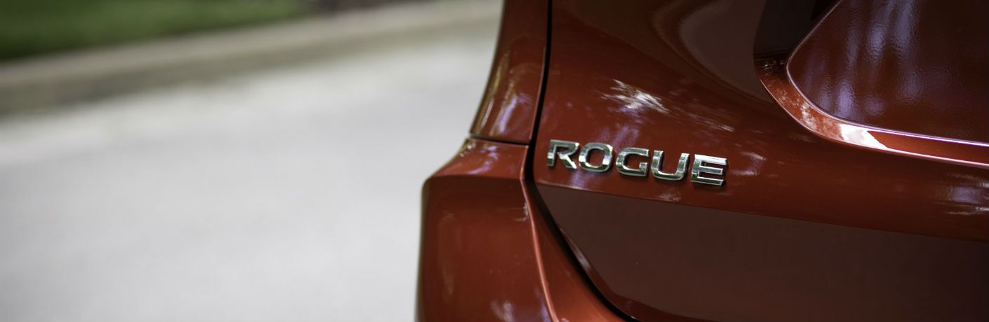 A close up photo of the Rogue badge used on the 2019 Nissan Rogue.