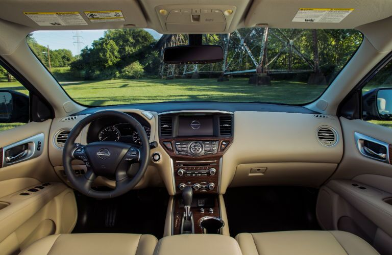 A photo of the dashboard used in the 2020 Nissan Pathfinder.