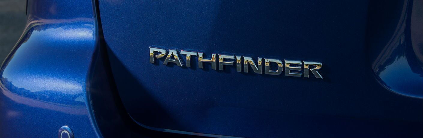 A photo of the Pathfinder badge used on the rear of the 2020 Nissan Pathfinder.