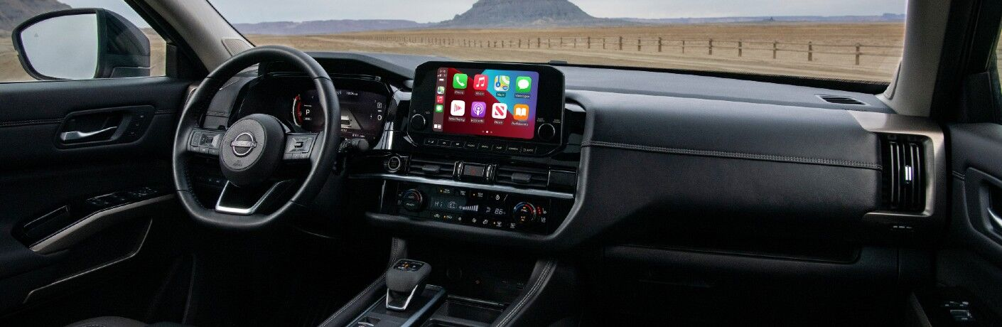 A photo of the dashboard in the 2022 Nissan Pathfinder.