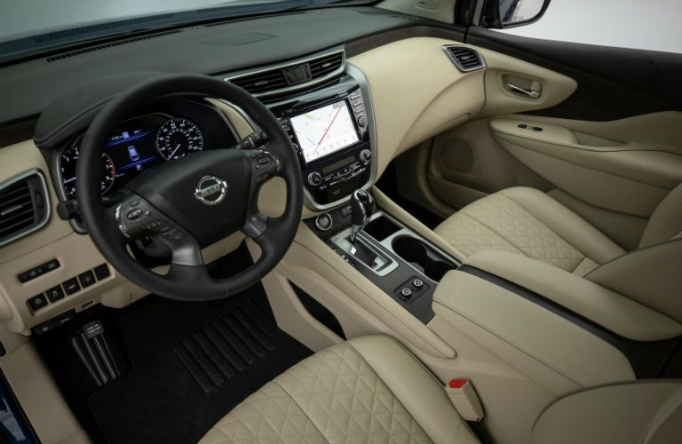 An interior photo showing the available technology in the 2019 Murano.