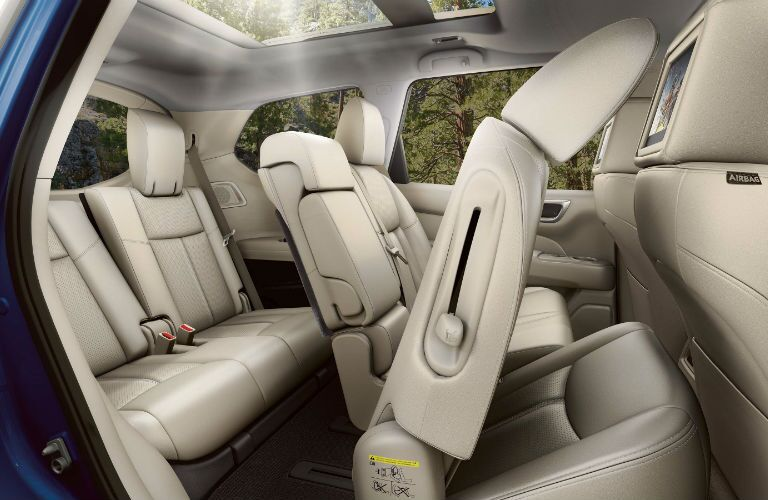 A photo of the second and third row of seats in the 2020 Nissan Pathfinder.