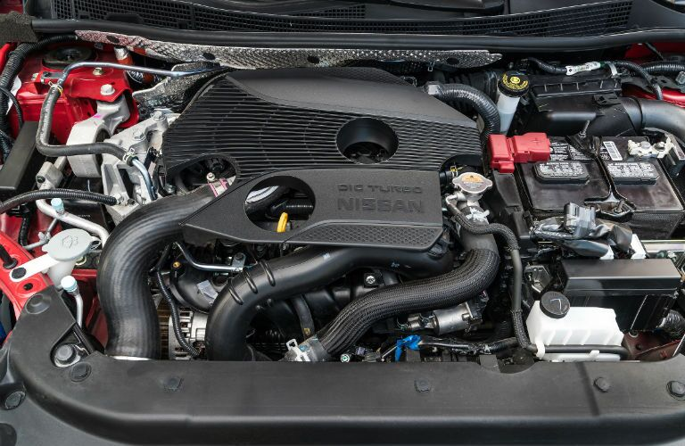 A photo of the engine used in the 2019 Nissan Sentra.