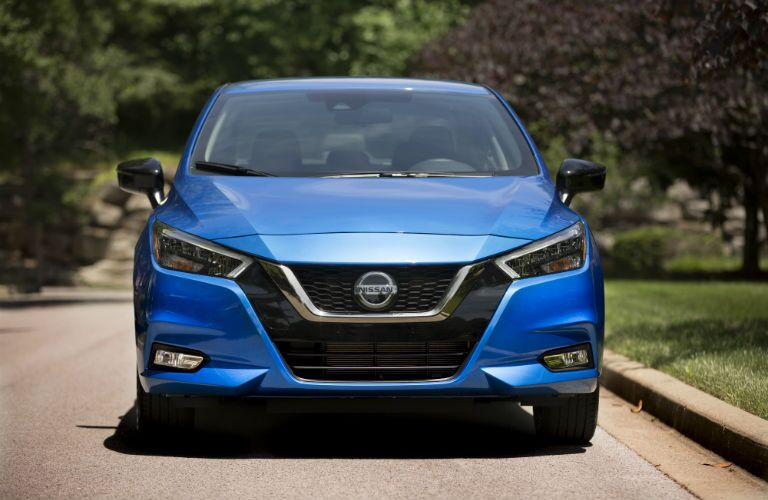 Head-on photo of the 2021 Nissan Versa.