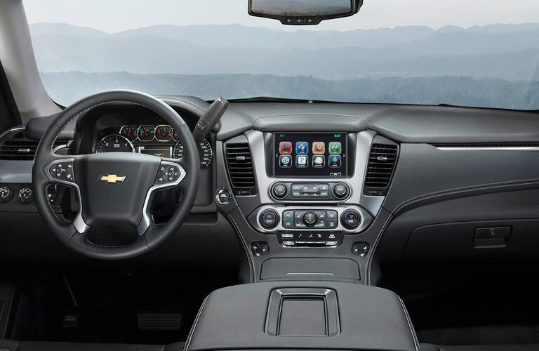 View of the dashboard of the  2015 Chevy Tahoe