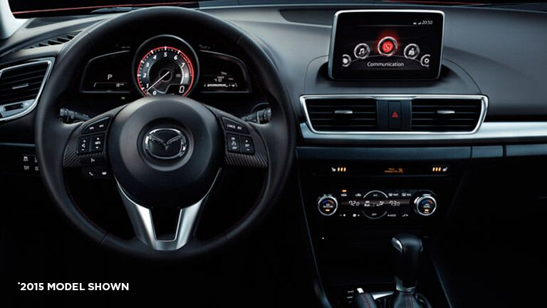 Driver-friendly dashboard of the 2016 Mazda 3