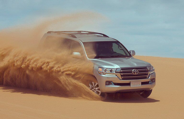 Silver 2017 Toyota Land Cruiser in Sand Dunes