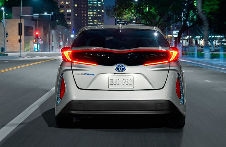 Silver 2017 Toyota Prius Prime Rear Exterior with LED Taillights
