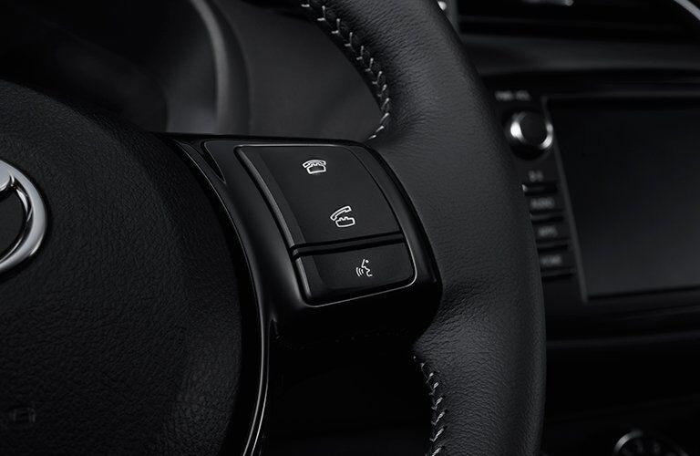 Close Up of 2018 Toyota Yaris Steering Wheel Controls