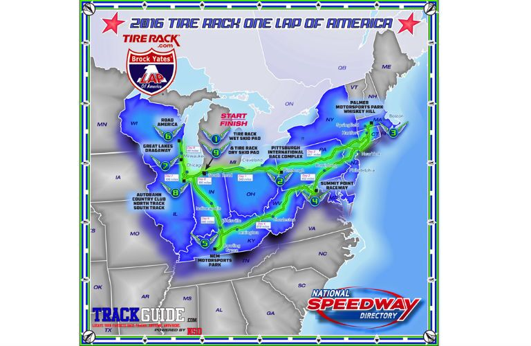 J. Pauley Toyota One Lap of America Map