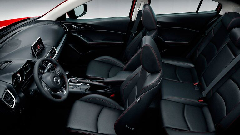 Interior of the 2016 Mazda3 is comfortable and connected