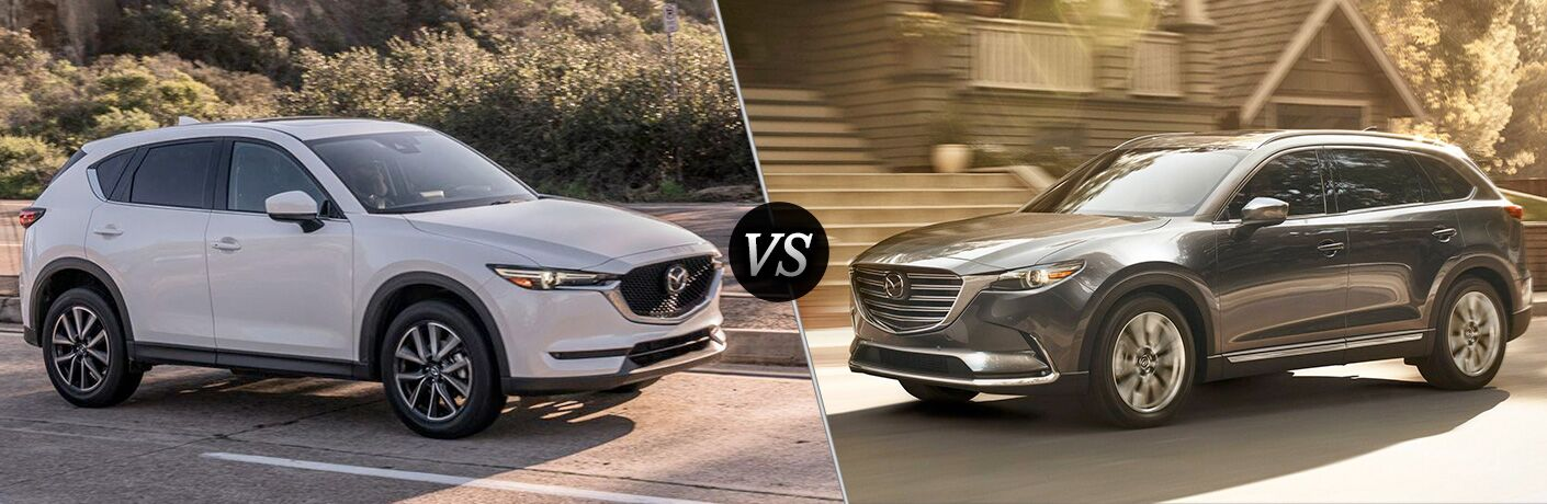 "Passenger side exterior view of a white 2018 Mazda CX-5 on the left ""vs"" driver side exterior view of a gray 2018 Mazda CX-9 on the right"