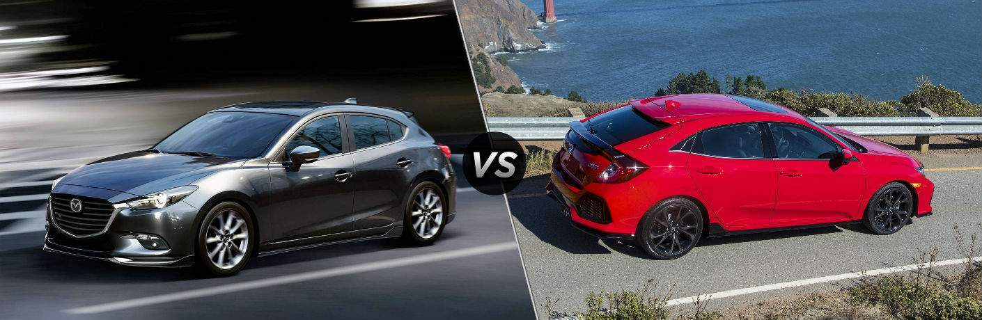 "Driver side exterior view of a gray 2018 Mazda3 5-Door on the left ""vs"" passenger side exterior view of a red 2018 Honda Civic Hatchback on the right"