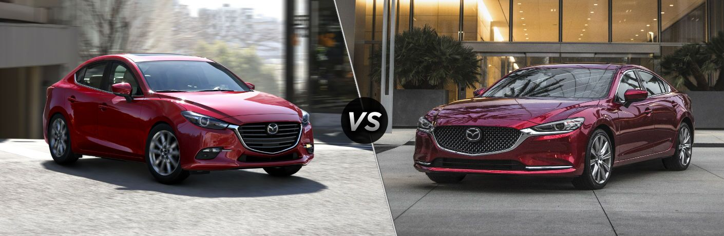 "Front exterior view of a red 2018 Mazda3 on the left ""vs"" front exterior view of a red 2018 Mazda6 on the left"