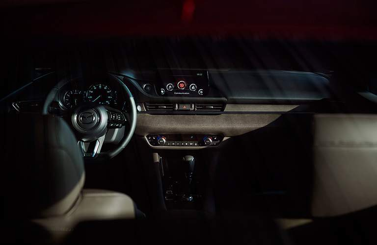 View of the 2018 Mazda6's touchscreen display and dashboard