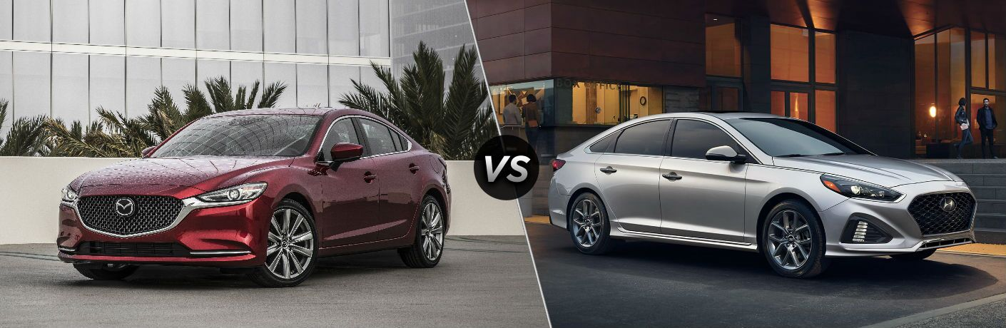 "Driver side exterior view of a red 2018 Mazda6 on the left ""vs"" passenger side exterior view of a gray 2018 Hyundai Sonata on the left"