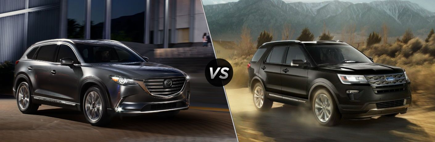 "Passenger side exterior view of a gray 2018 Mazda CX-9 on the left ""vs"" Passenger side exterior view of a black 2018 Ford Explorer on the right"