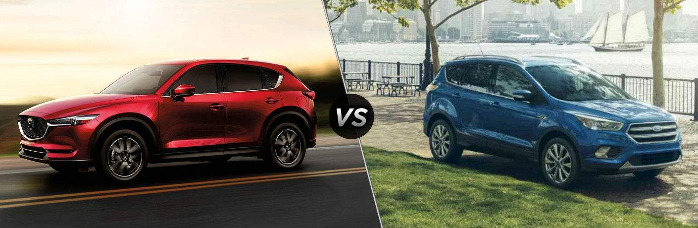 "Driver side exterior view of a red 2018 Mazda CX-5 on the left ""vs"" passenger side exterior view of a blue 2018 Ford Escape on the right"