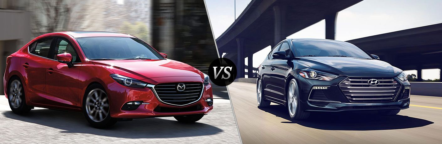 "Front exterior view of a red 2018 Mazda3 on the left ""vs"" front exterior view of a 2018 Hyundai Elantra on the right"