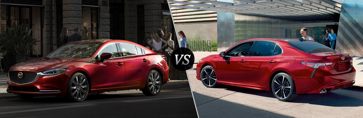"""Driver side exterior view of a red 2018 Mazda6 on the left """"vs"""" driver side exterior view of a red 2018 Toyota Camry on the left"""