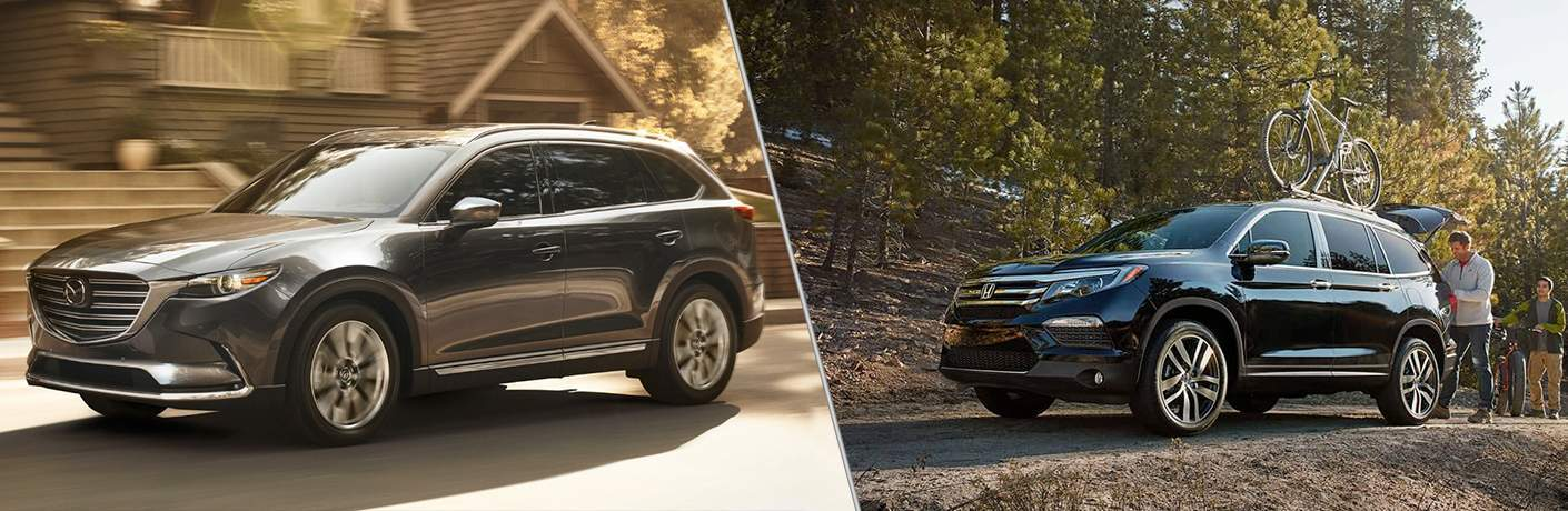 "Exterior side view of a gray 2018 Mazda CX-9 on the left ""vs"" Exterior side view of a black 2018 Honda Pilot on the right"