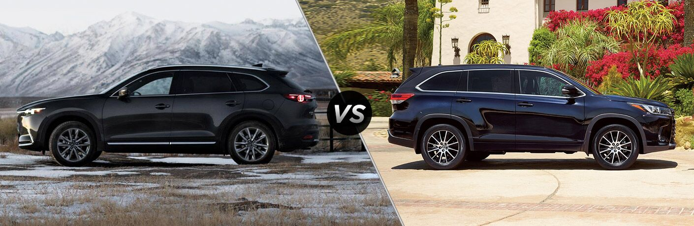 "Driver side exterior view of a black 2019 Mazda CX-9 on the left ""vs"" passenger side exterior view of a blue 2019 Toyota Highlander on the right"