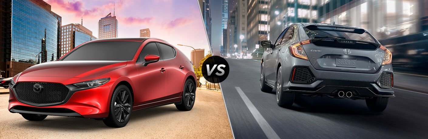"Front driver side exterior view of a red 2019 Mazda3 Hatchback on the left ""vs"" rear exterior view of a gray 2019 Honda Civic Hatchback on the right"