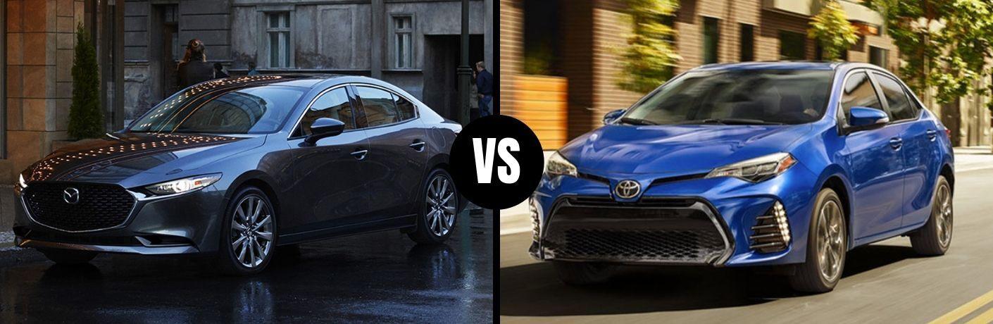 Comparison image of a gray 2019 Mazda3 Sedan and a 2019 Toyota Corolla