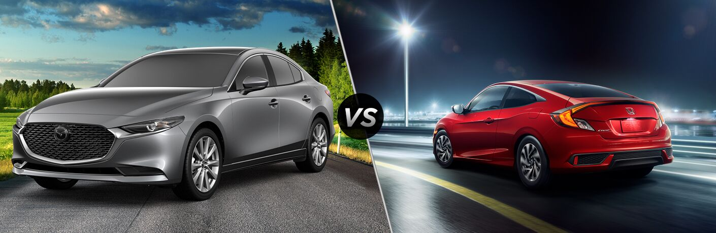 "Front driver side exterior view of a gray 2019 Mazda3 on the left ""vs"" rear driver side exterior view of a red 2019 Honda Civic Sedan on the right"
