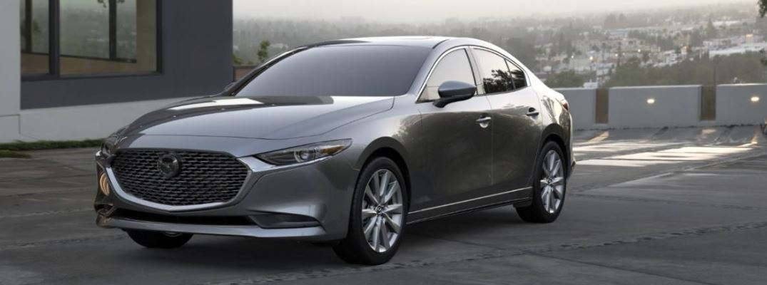 front view of a silver 2021 Mazda3