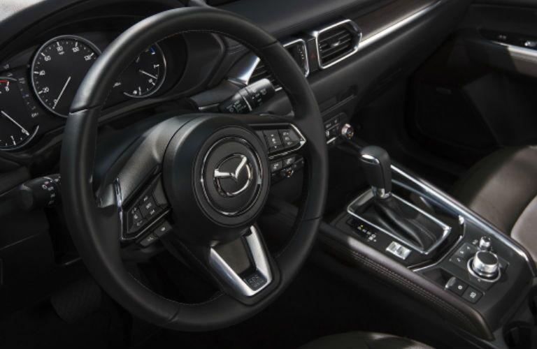 steering wheel in a 2021 Mazda CX-5