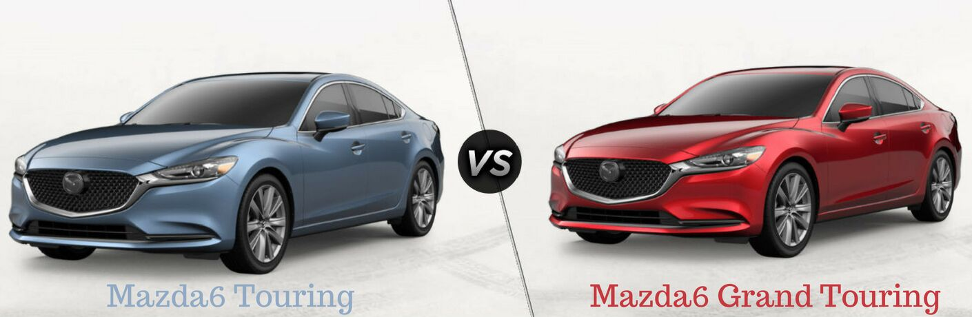 "Mazda6 Touring, text, under a driver side exterior view of a blue 2018 Mazda6 Touring on the left ""vs"" Mazda6 Grand Touring, text, beneath a driver side exterior view of a red 2018 Mazda 6 Grand Touring on the right"