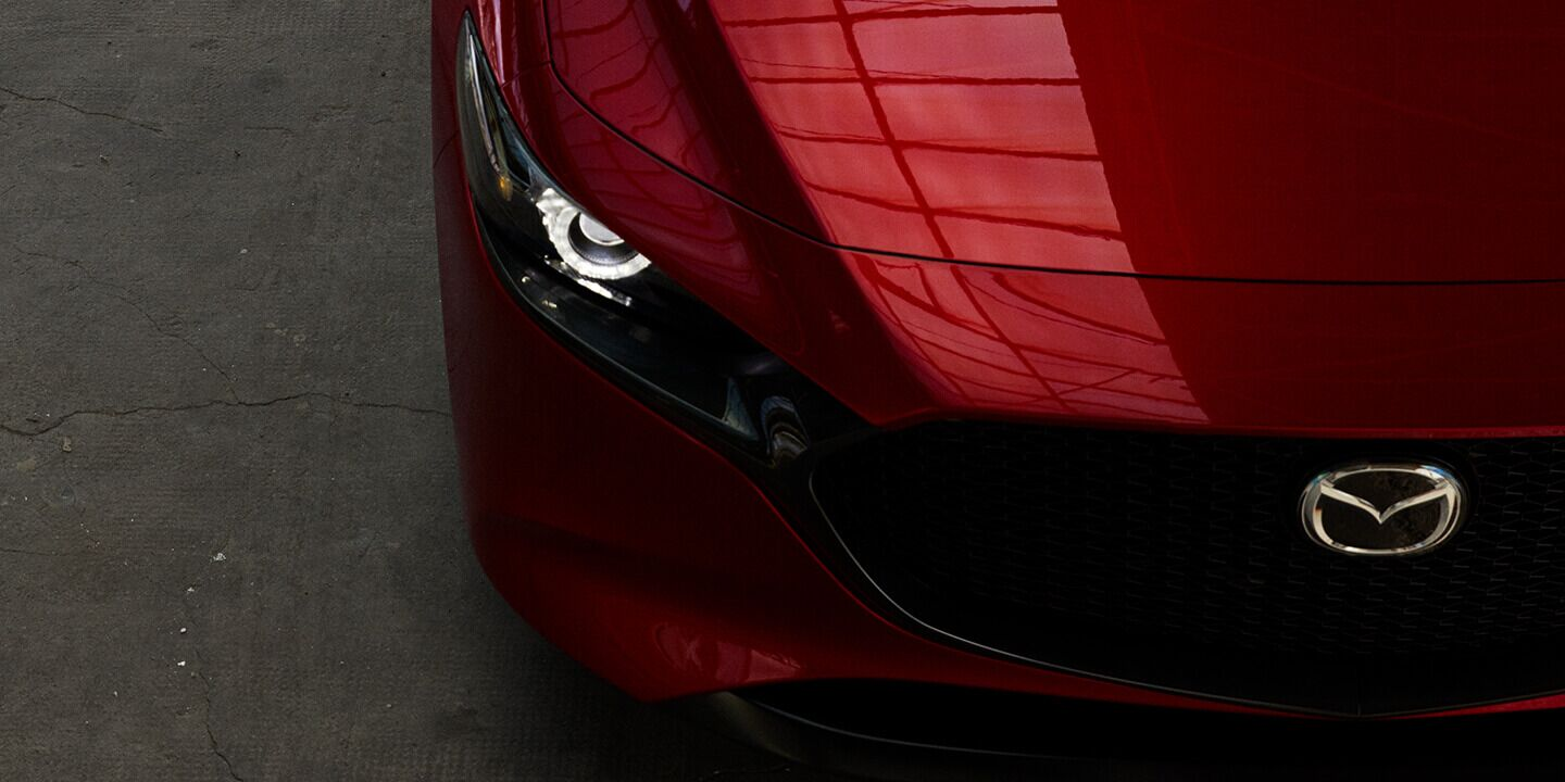 Top view of a 2019 Mazda3 hood