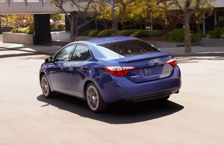 Rear profile of blue 2016 Toyota Corolla