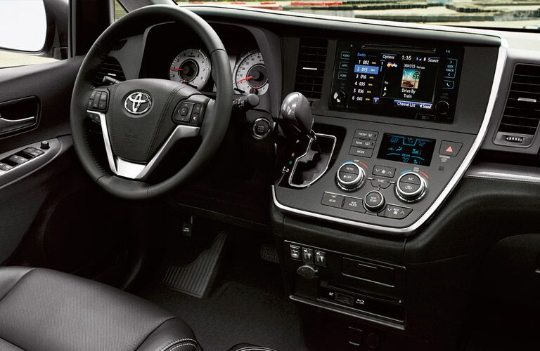 Front dash of the 2016 Toyota Sienna with the Entune infotainment system