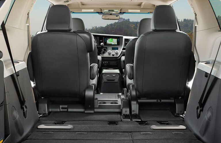 The 2016 Toyota Sienna can accommodate 87 cubic feet of cargo volume when the third row of seating is collapsed